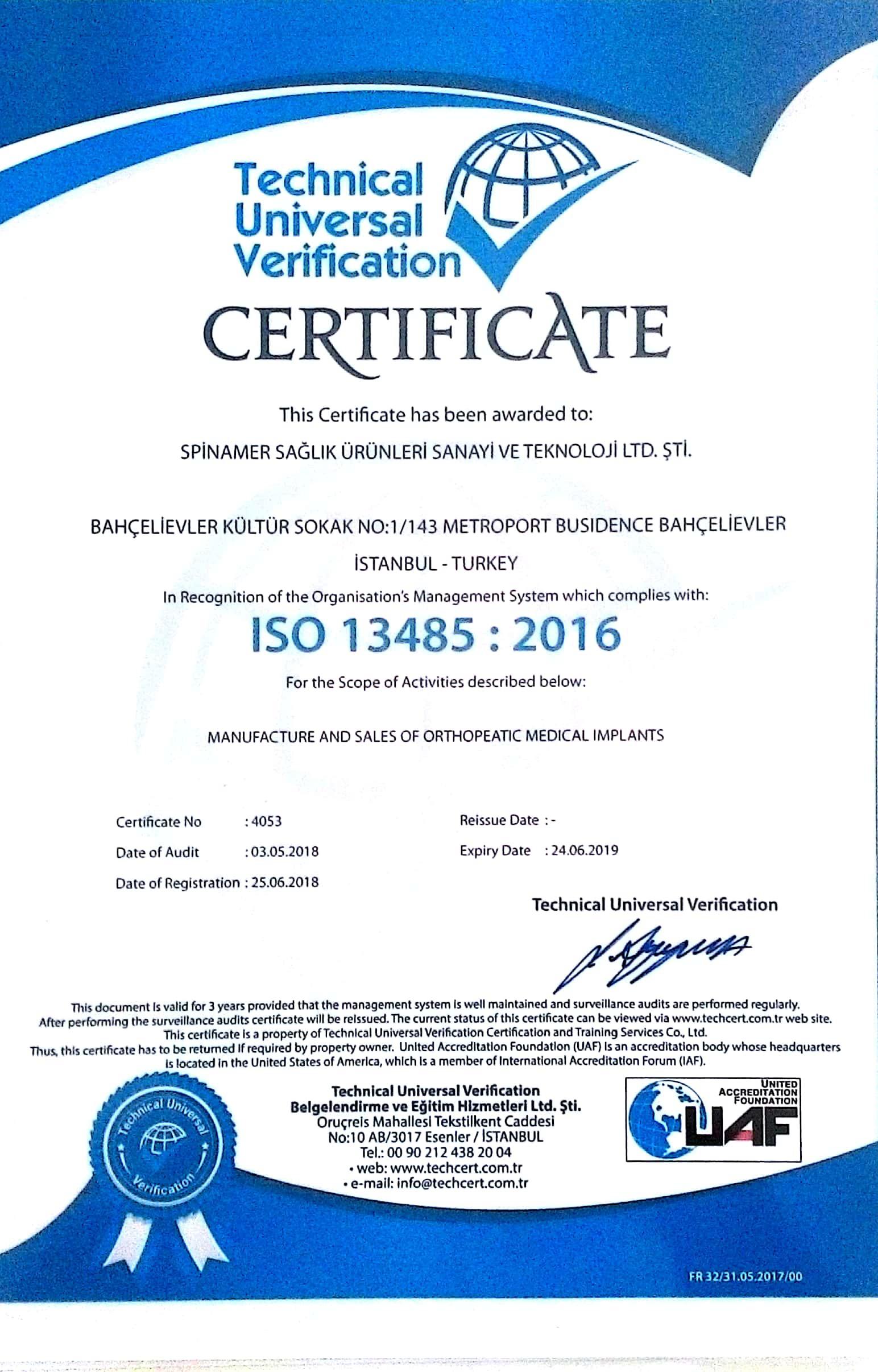 Spinamer Certificates
